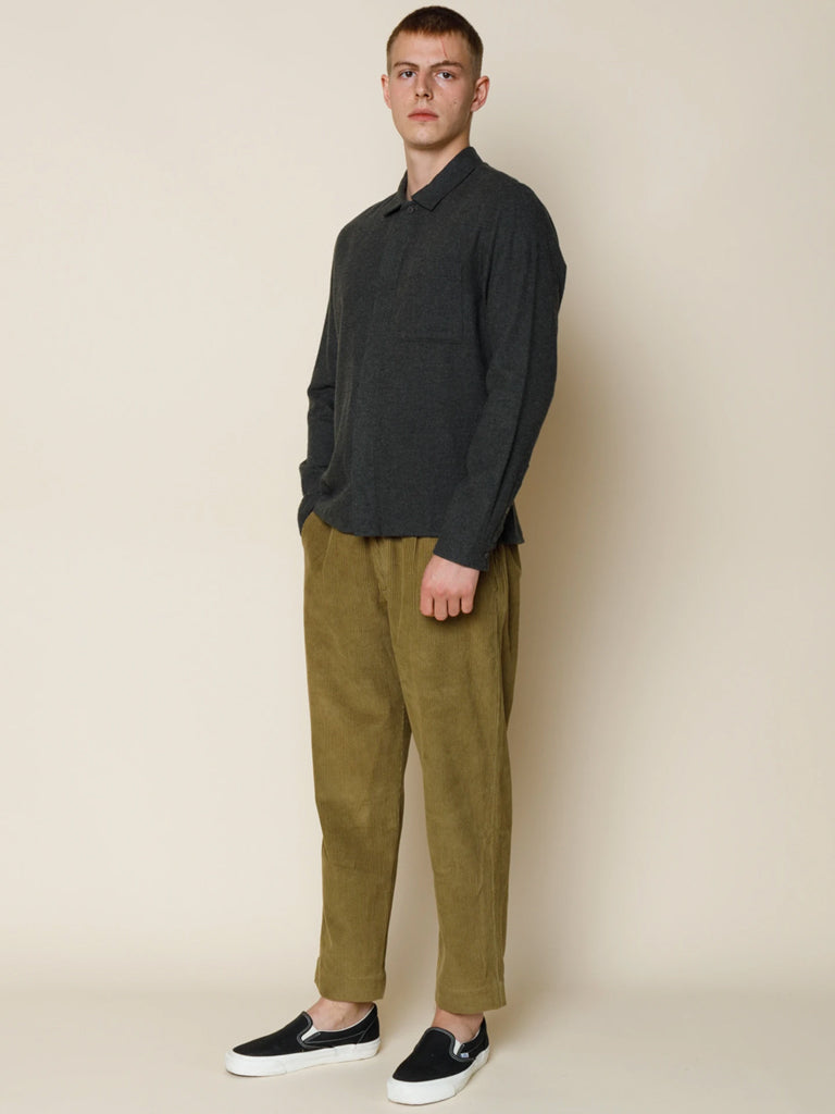 Folk Patch Shirt in Stone Moss Flannel