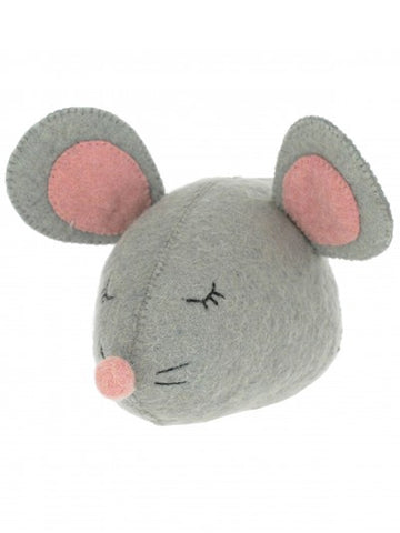 Fiona Walker Sleepy Mouse Head in Grey