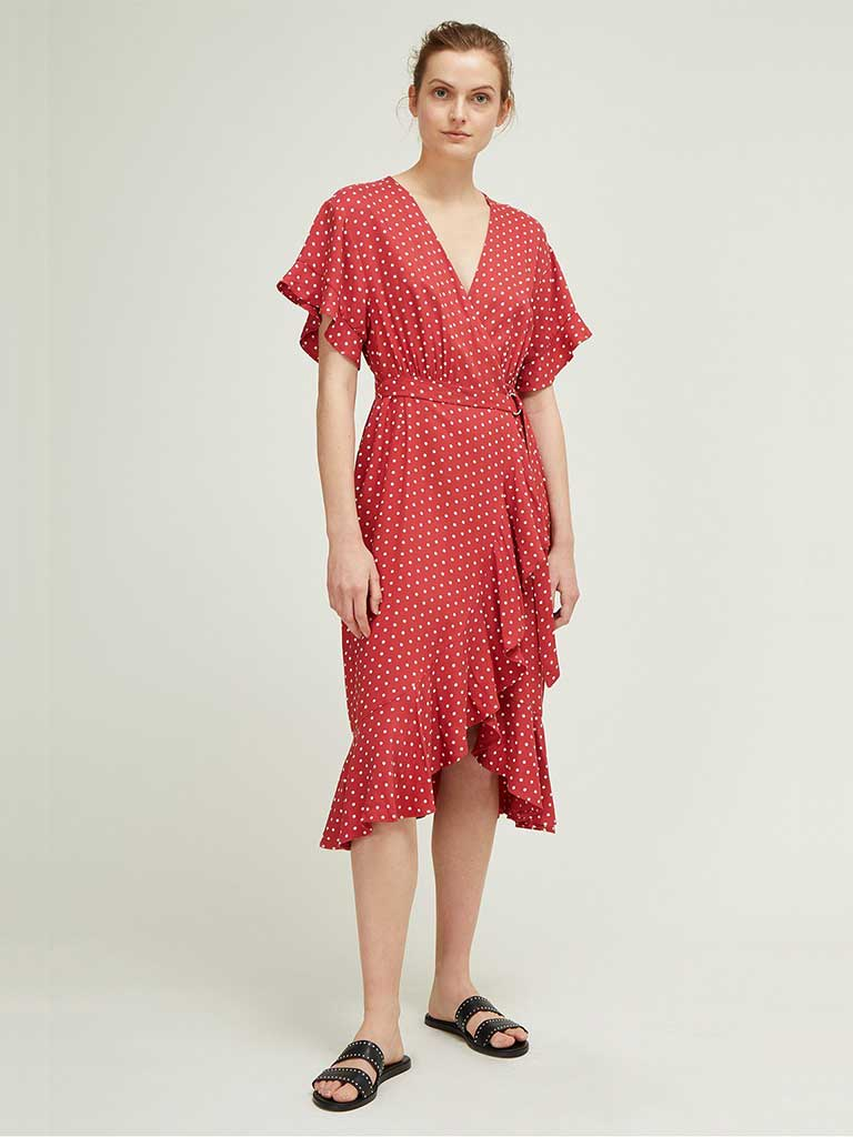 Great Plains Dana Dot Dress in Earth Red and White