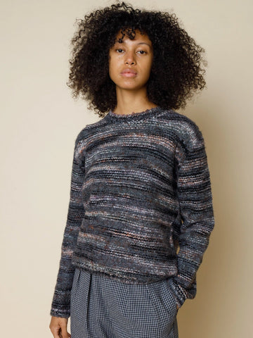 Folk Highlight Crew Knit in Charcoal Marble