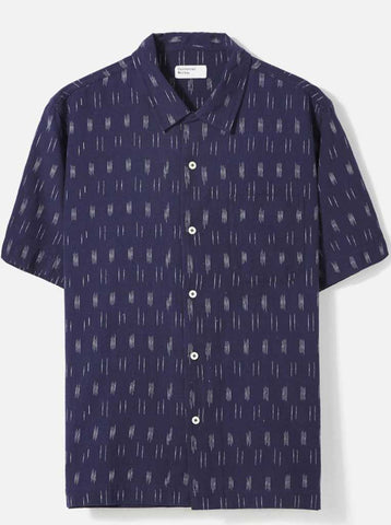 Universal Works Road Ikat Lines Shirt in Navy