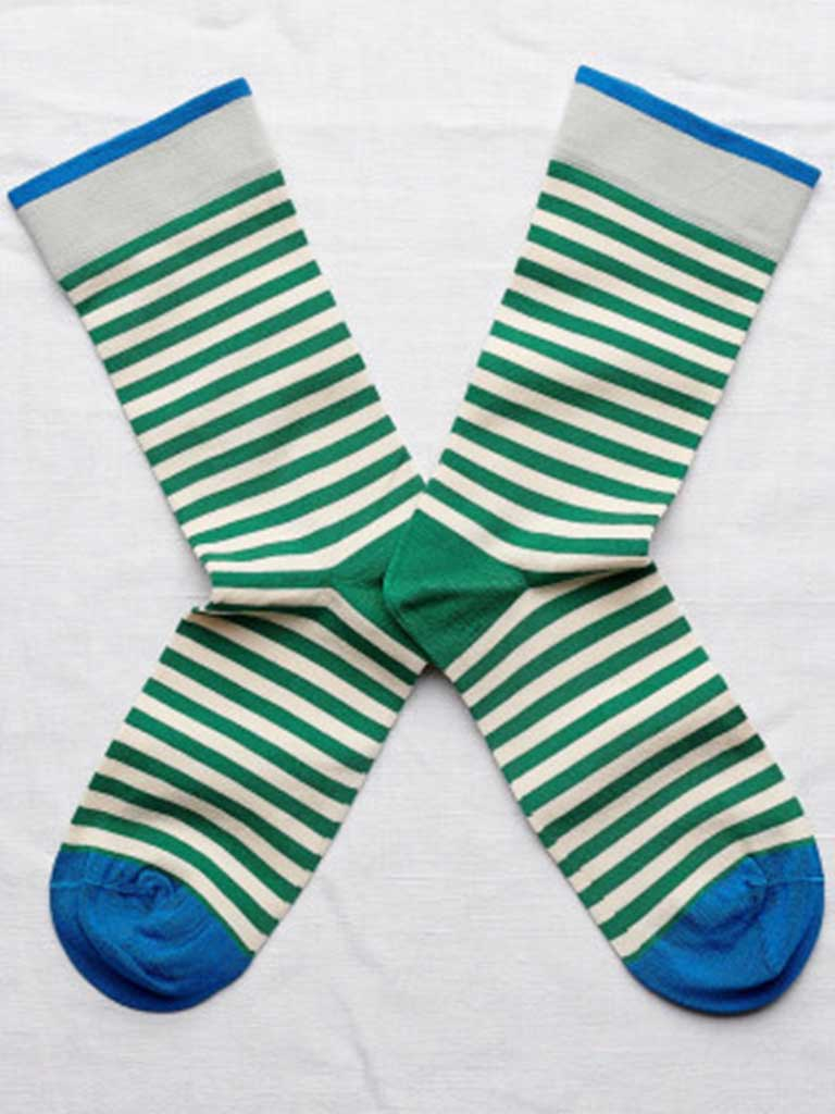Bonne Maison Stripe Sock in Green and White