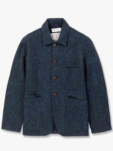 Universal Works Harris Tweed Jacket in Navy