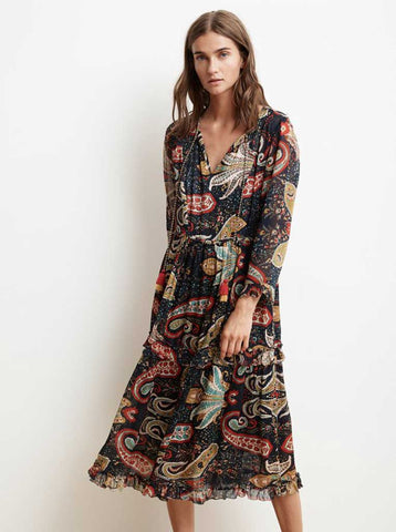 Velvet Glimmer Paisley Dress in Paisley