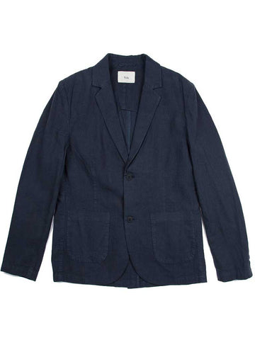 Folk Linen Blazer in Navy