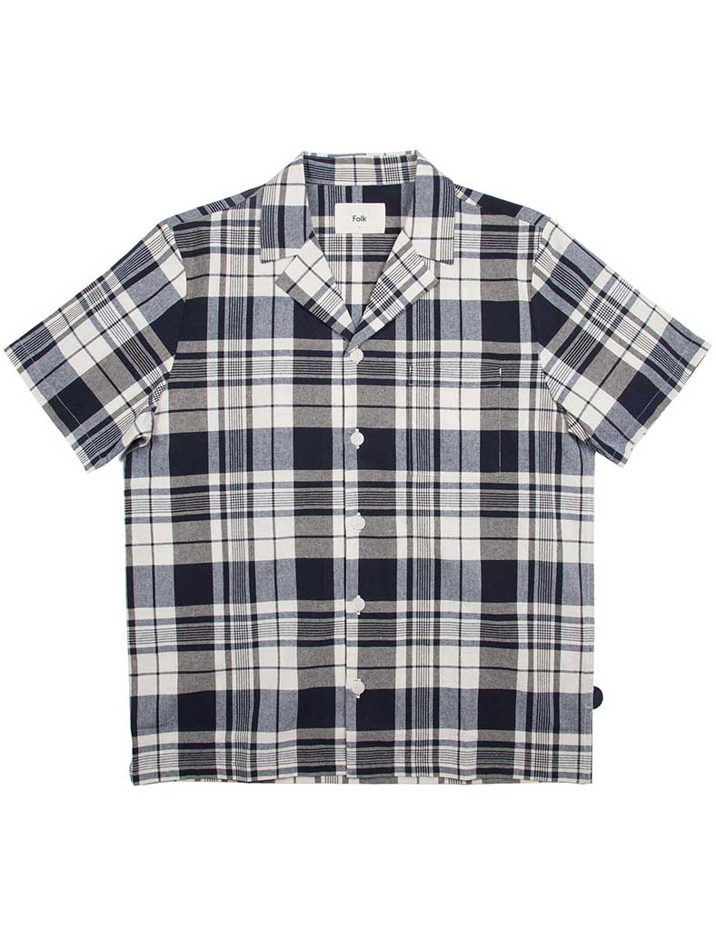 Folk Check Shirt in Navy and Ecru