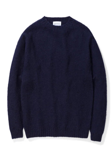 Norse Projects Birnir Brushed Lambswool Knit in Dark Navy