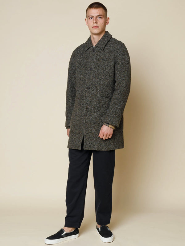 Folk Clean Car Coat in Stone Moss