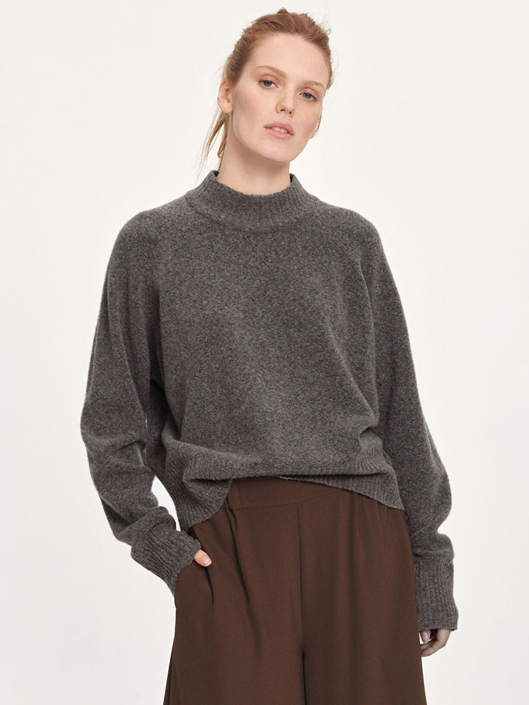 Samsoe Samsoe Francis Crew Knit in Warm Grey Mel