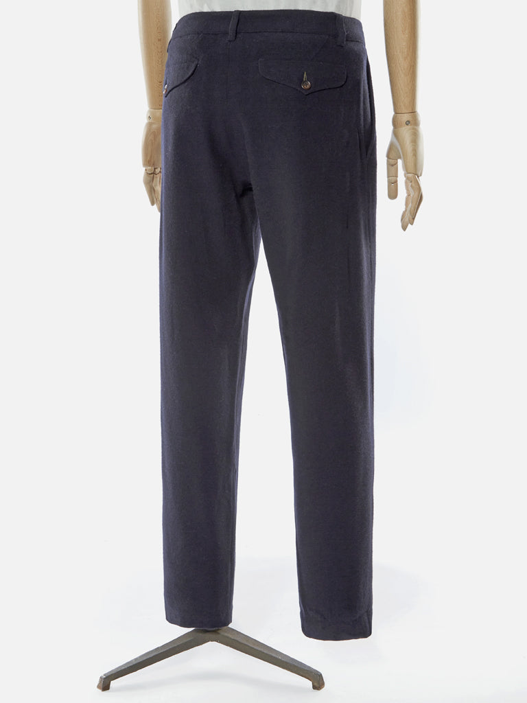 Universal Works Aston Wool Marl Trousers in Navy