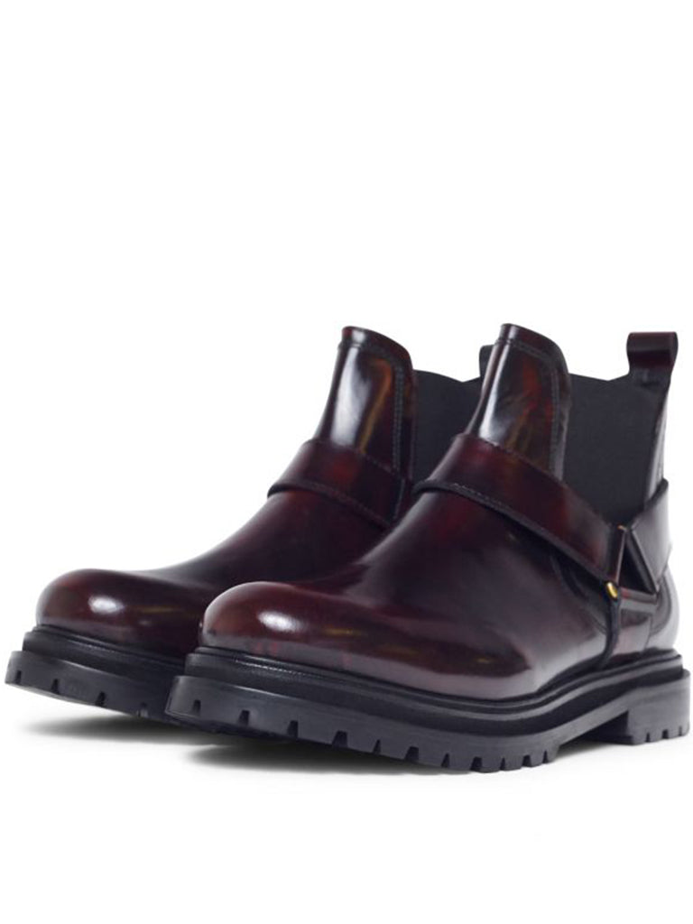 Hudson Moss Chelsea Boot in Patent Bordo