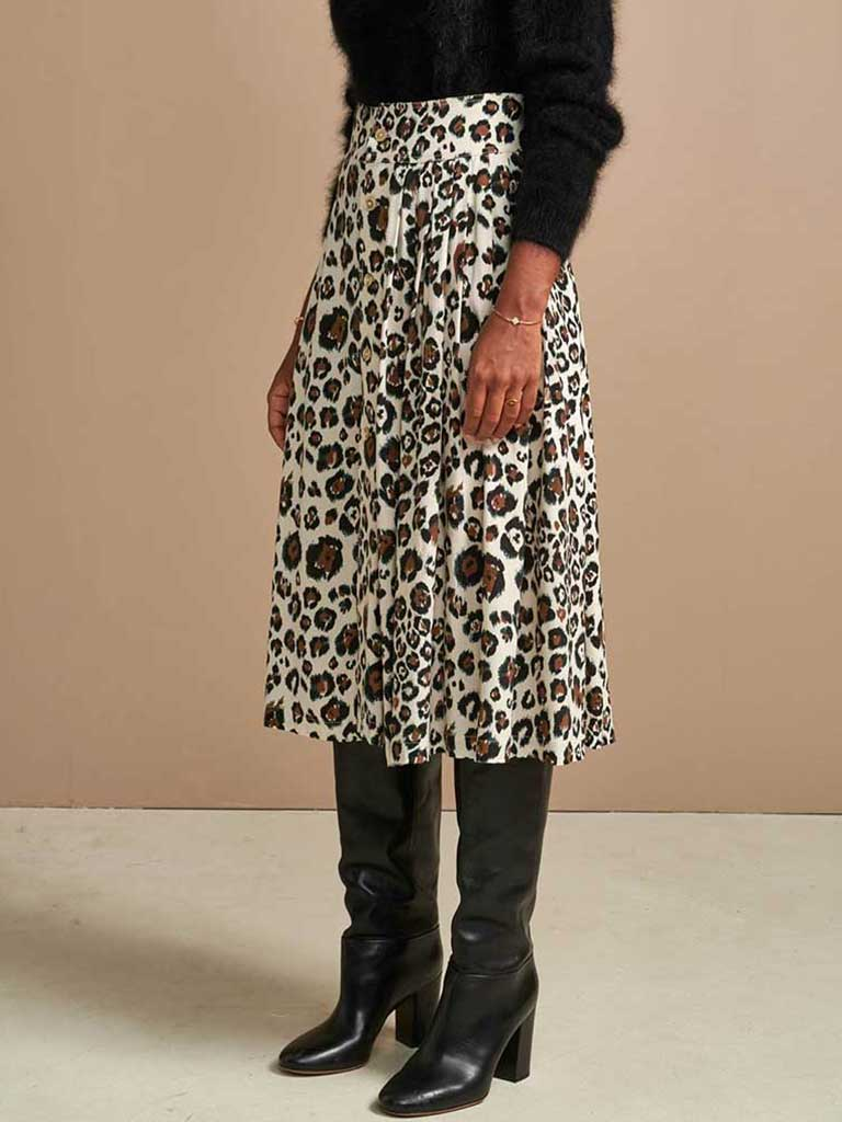 Bellerose Hudson Midi Skirt in Leopard