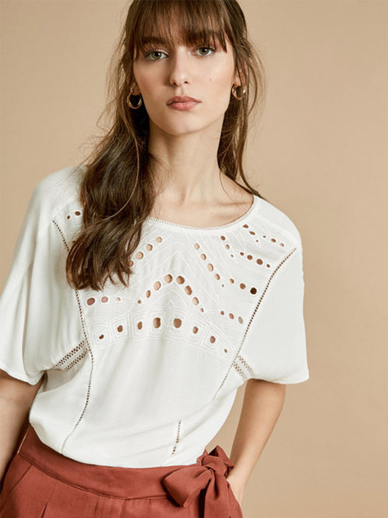 Suncoo Lena Cutwork Top in White