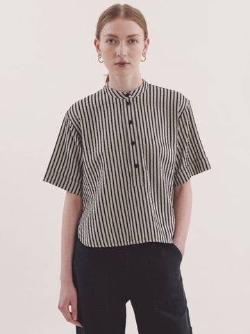 YMC Manon Shirt in Black Stripe