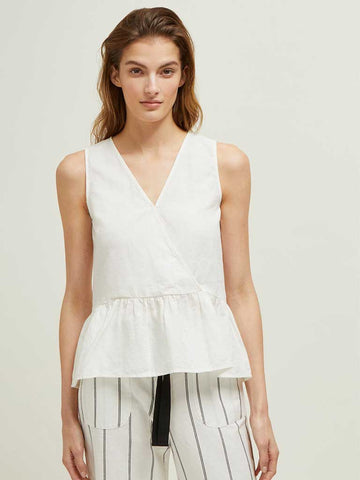 Great Plains Safi Linen Top in Optic White