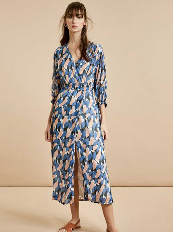 Suncoo Caline Lurex Geo Dress in Blue