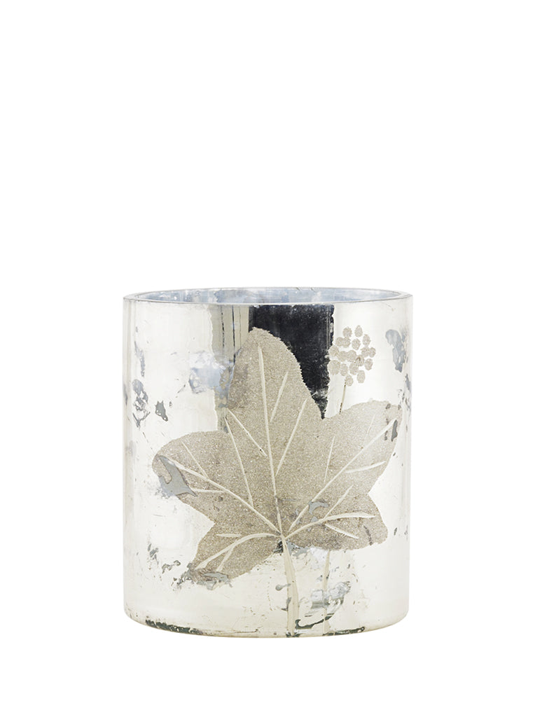 Walther & Co Ivy Hurricane Tea Light Holder in Antique Silver