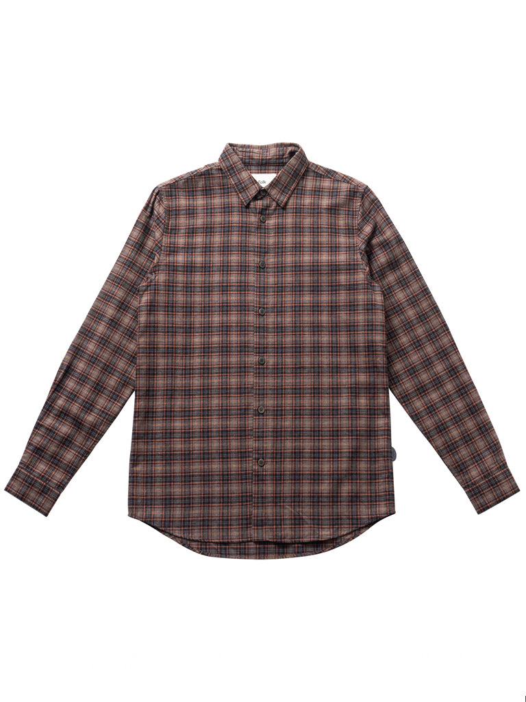 Folk Storm Shirt in Mid Brick Check