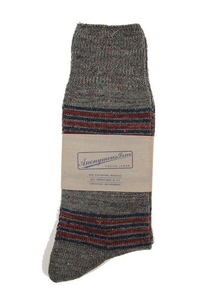 Anonymous-ism Stripe Sock in Grey/Red