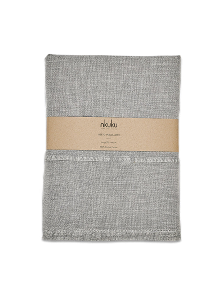 Nkuku Large Abeto Table Cloth in Washed Grey