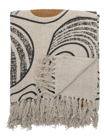 Bloomingville Printed Cotton Throw in Natural