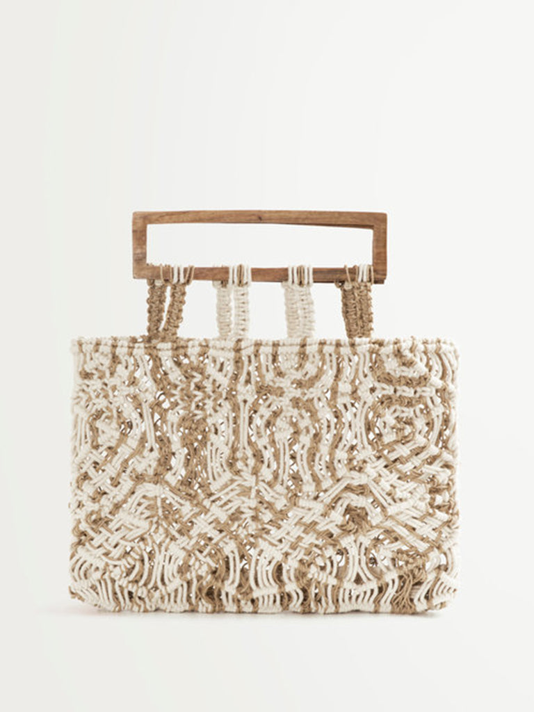 Suncoo Aime Woven Bag in Beige Chine