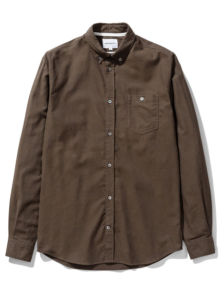 Norse Projects Anton Brushed Shirt in Dark Green