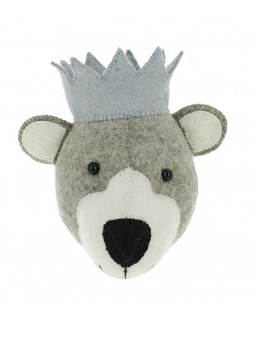 Fiona Walker Mini Baby Bear Head in Grey