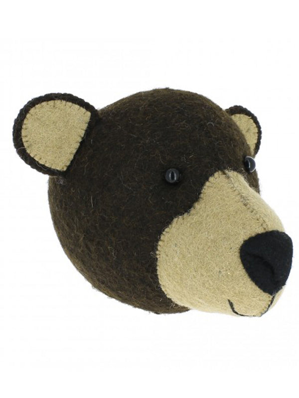 Fiona Walker Mini Bear Head in Brown