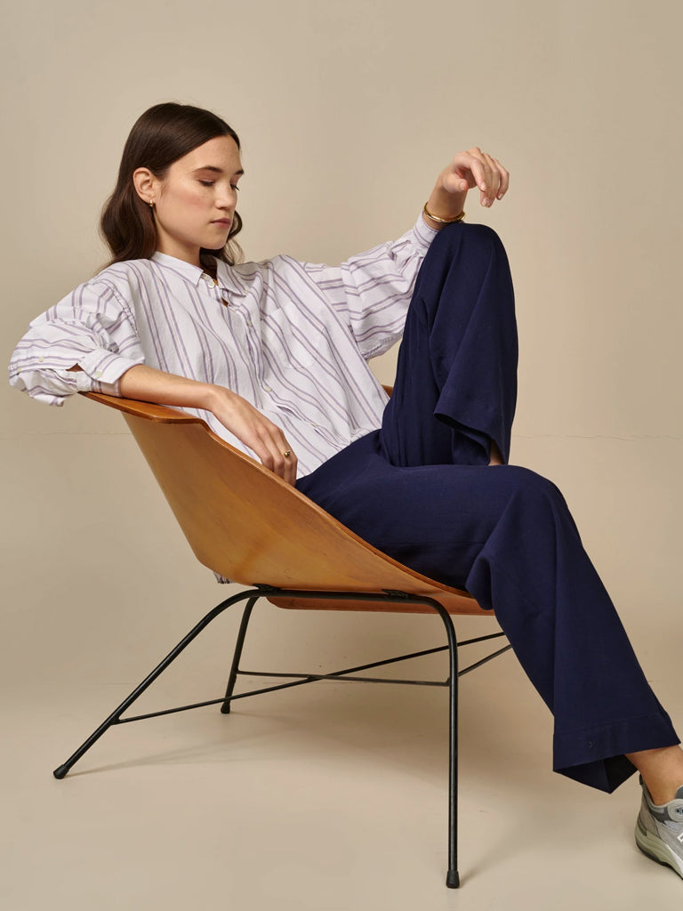 Bellerose Graff Stripe Shirt in White & Lilac