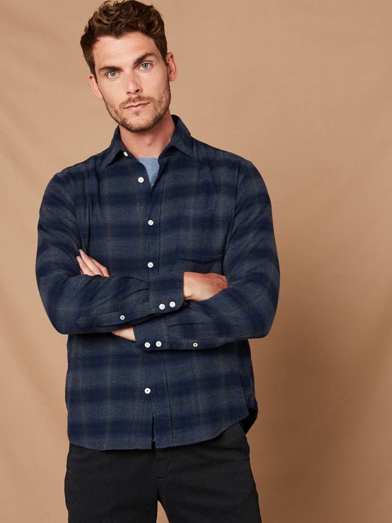Hartford Paul Canclini Flannel Shirt in Navy