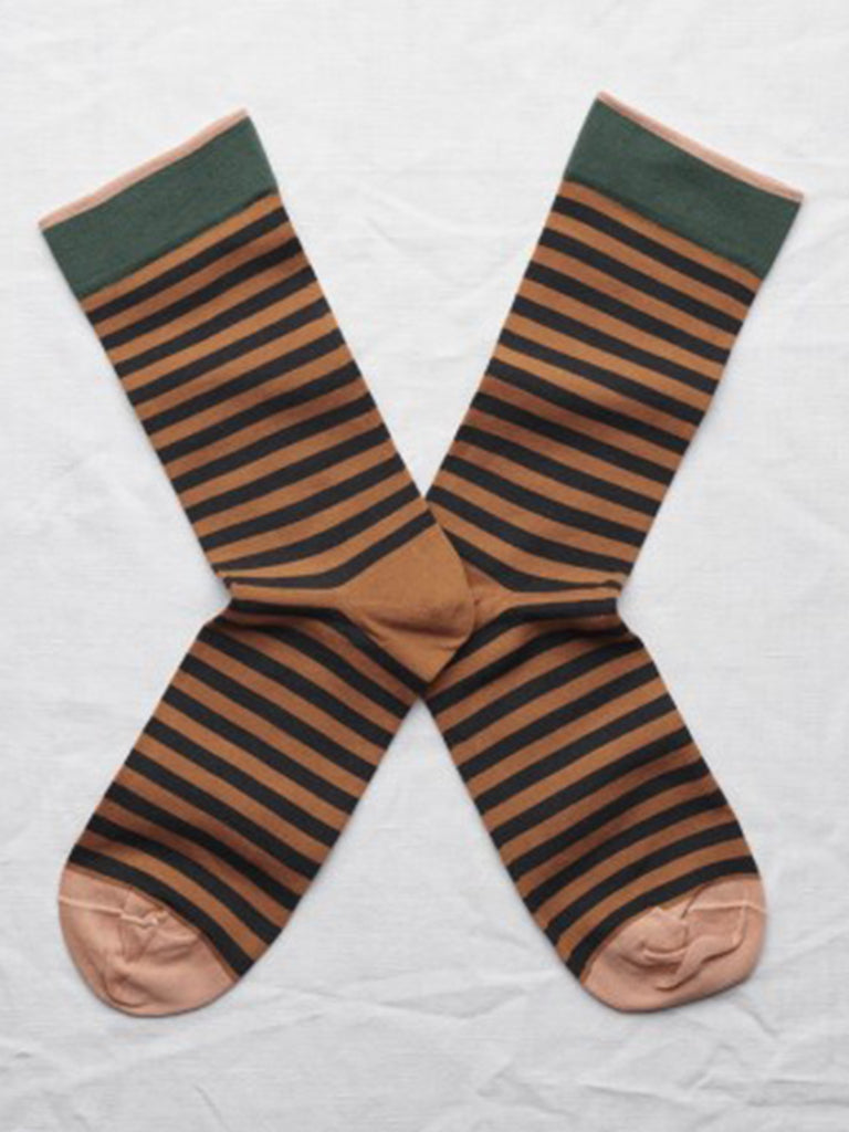 Bonne Maison Stripe Sock in Caramel