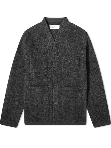 Universal Works Wool Fleece Cardigan in Charcoal