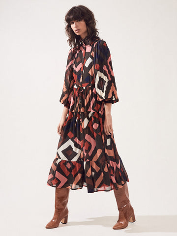 Suncoo Chelby Geometric Dress in Tobacco