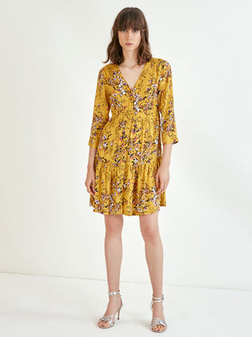 Suncoo Clara Dress in Ochre