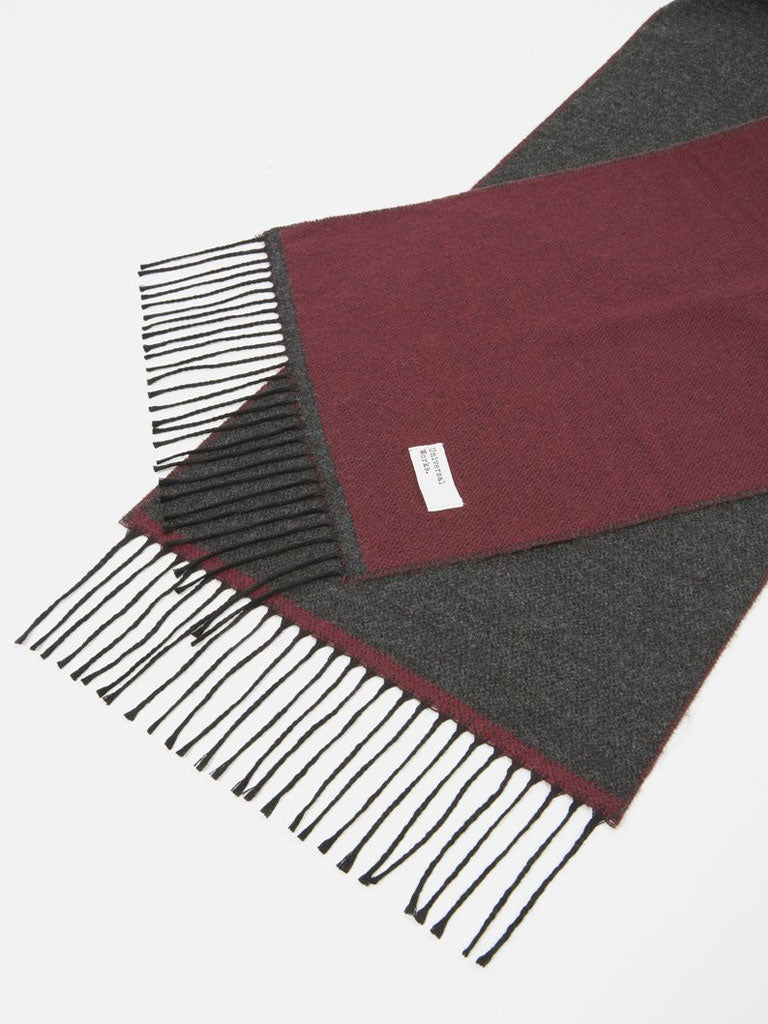 Universal Woerks Double Sided Scarf in Claret/Charcoal