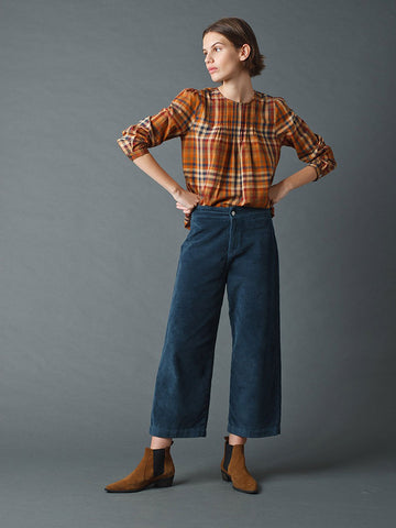 Indi & Cold Crop Cord Trousers in Acero