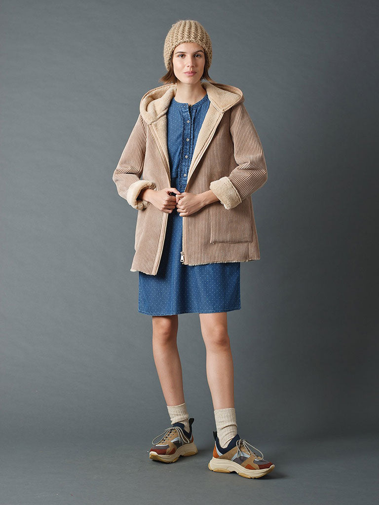Indi & Cold Hooded Fur Coat in Beige