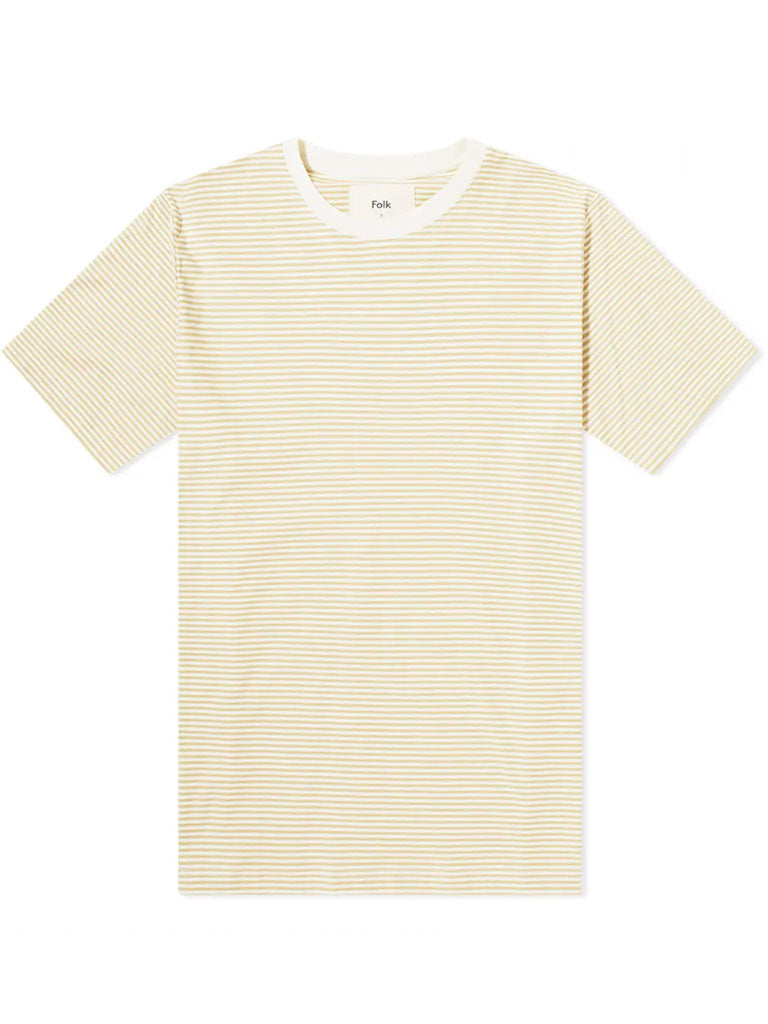 Folk 1x1 Stripe T-Shirt in Fawn Ecru