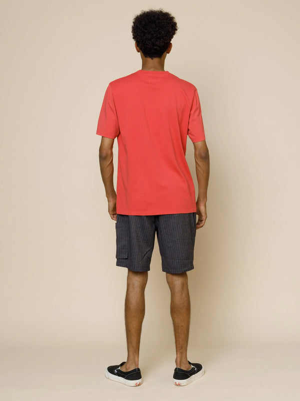 Folk Contrast Sleeve T-Shirt in Radish