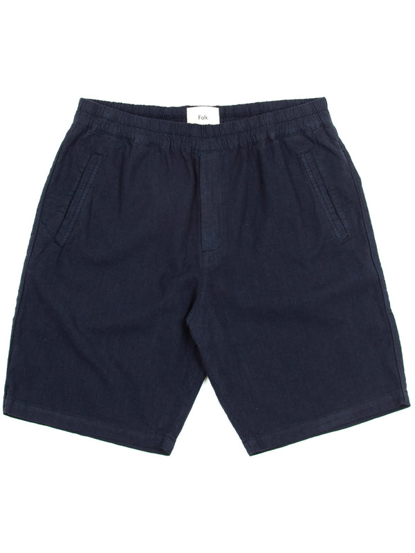 Folk Cotton Linen Shorts in Navy