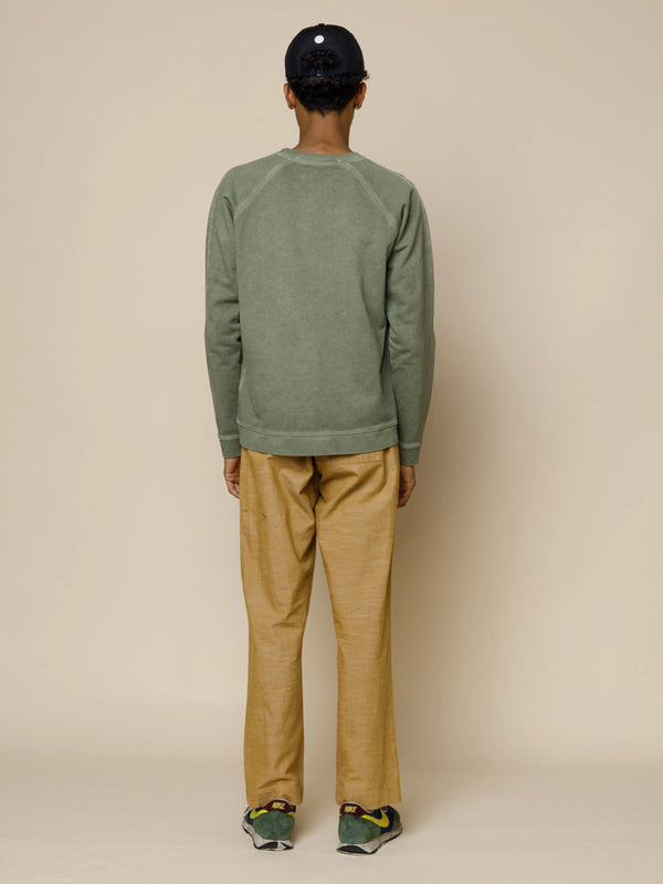 Folk Rivet Sweat in Cold Dye in Olive