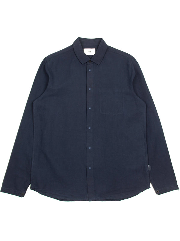 Folk Stitch Pocket Shirt in Navy