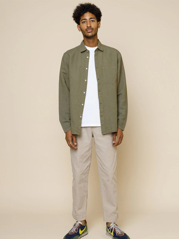 Folk Stitch Pocket Shirt in Washed Olive