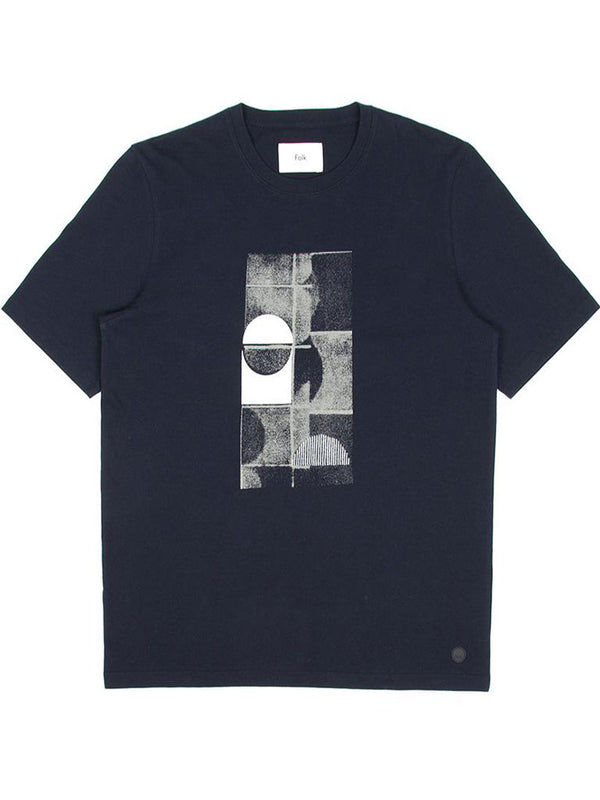 Folk Fracture T-Shirt in Navy