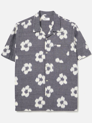 Universal Works Road Shirt in Grey Ikat Flower