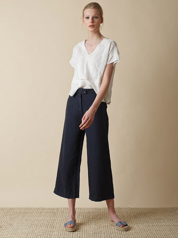 Indi & Cold Linen Garment Dye Trouser in Marine
