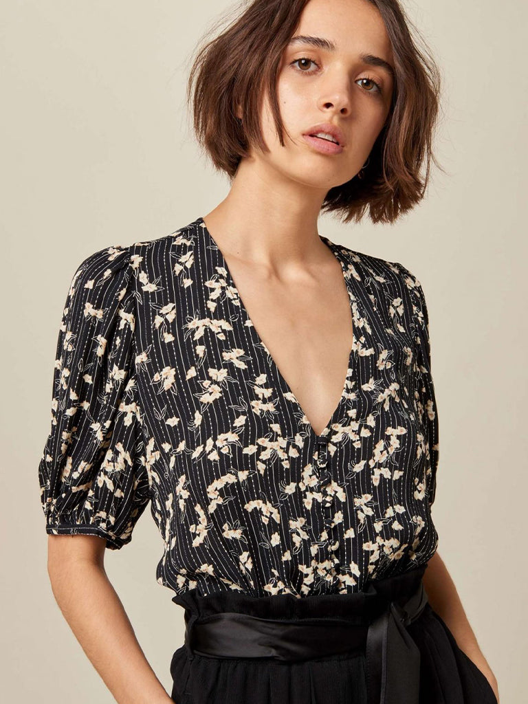 Sessun Georgia Blouse in Black & White