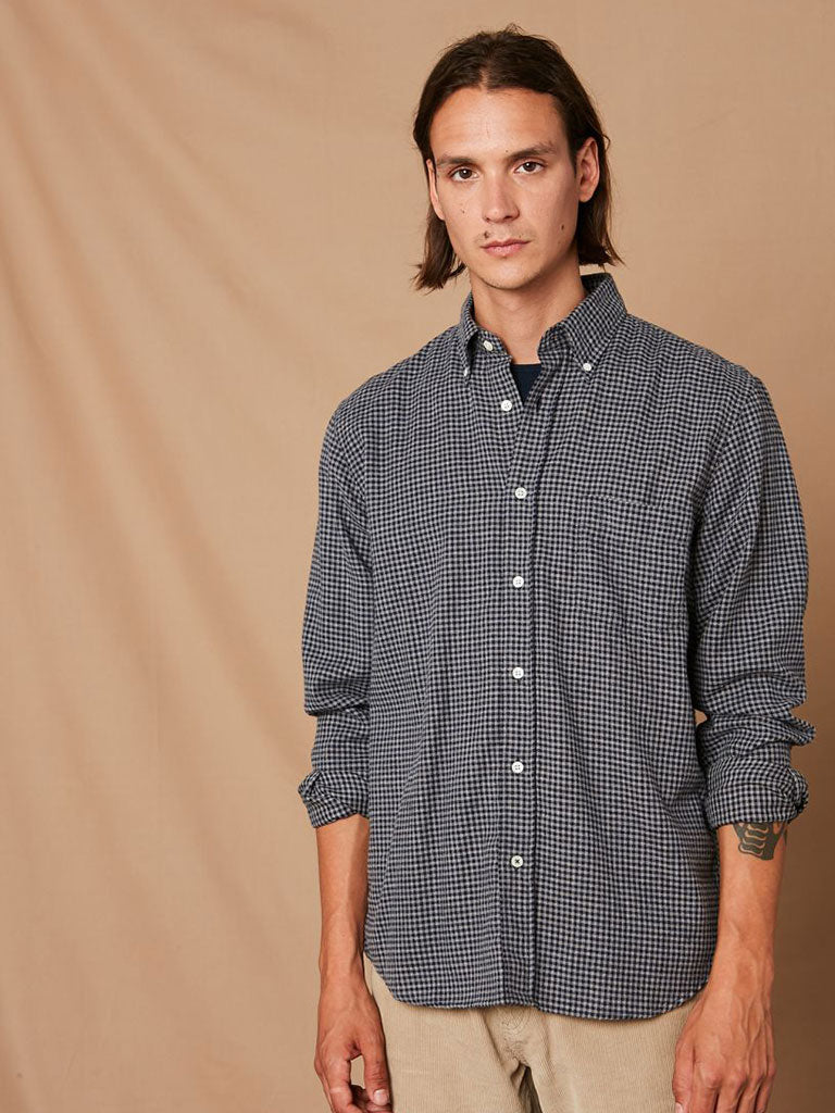 Hartford Penn Gingham Shirt in Navy/Grey