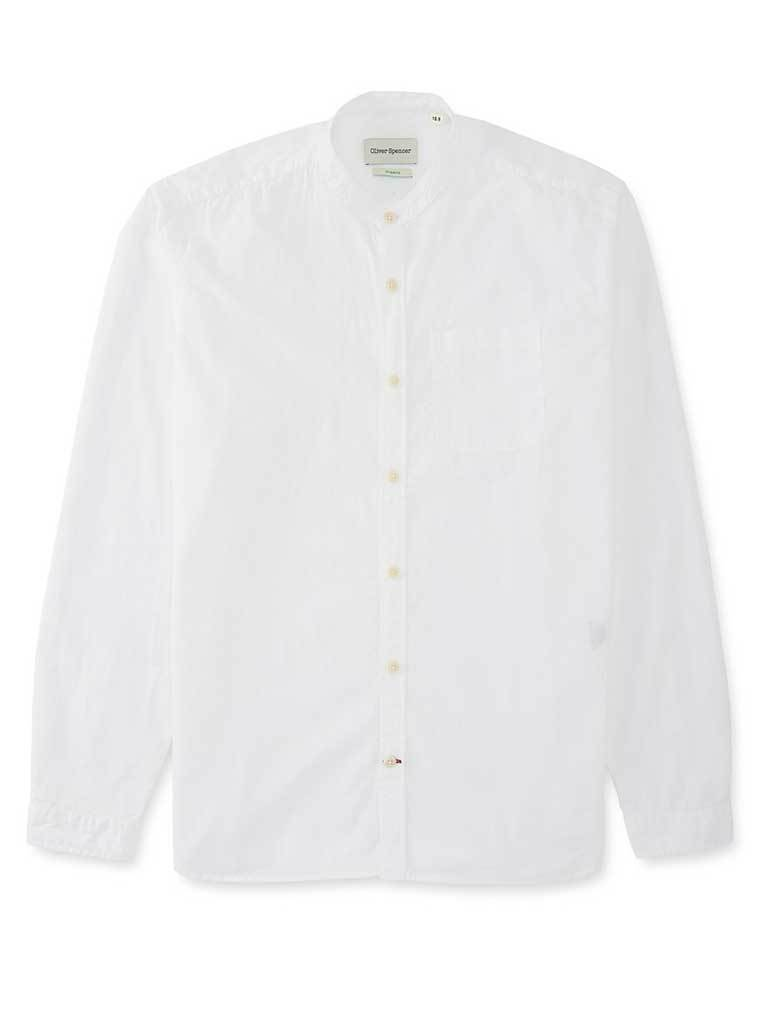 Oliver Spencer Grandad Shirt in Abbot White